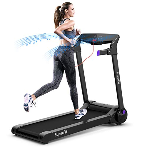 Goplus 3HP Electric Folding Treadmill, with APP Control, Bluetooth Speaker and HD Touch Screen, Installation-Free, Compact Walking Jogging Running Machine for Home Office Use (Purple)