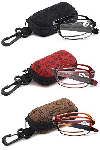 VEVESMUNDO Faltbare Lesebrillen Sehstärke Lesehilfe Augenoptik Brillen Sehstärke mit Etui 1.0 1.5 2.0 2.5 3.0 3.5 4.0 (3 Farben(schwarz+braun+rot), 2.0)