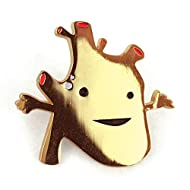 I Heart Guts Heart of Gold Lapel Pin - Faux Gold Metallic Enamel Pin