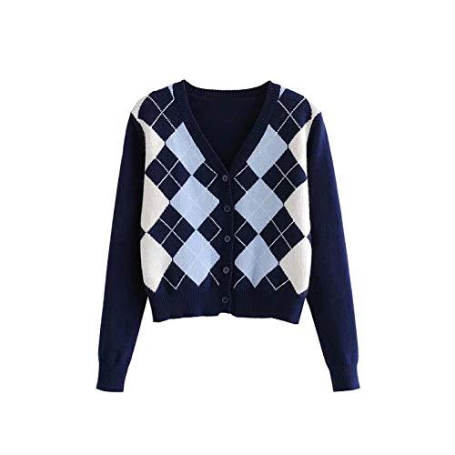 Moda Sudaderas Jersey Sweater Cárdigan De Mujer Vintage Elegante Patrón Geométrico Suéter De Punto Corto Moda Manga Larga Estilo De Inglaterra Prendas De Vestir Exteriores M 1