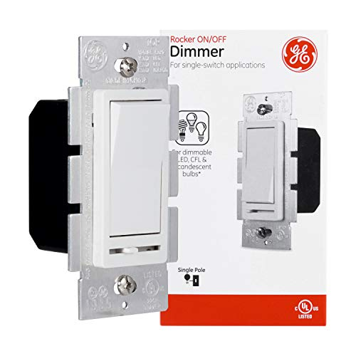 GE Slide Dimmer Rocker Wall Switch, Single Pole, For Dimmable LED, CFL, Incandescent Light, Bulbs, UL Listed, White, 10464, 1 Pack