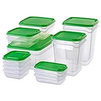 Ikeaセット17ピースフードセーバーw /リッドBPAフリーのプラスチック容器ピクニックパーティー冷凍庫電子レンジ食器洗い機安全キッチン収納ボックスセットPruta、庭、芝生、メンテナンス