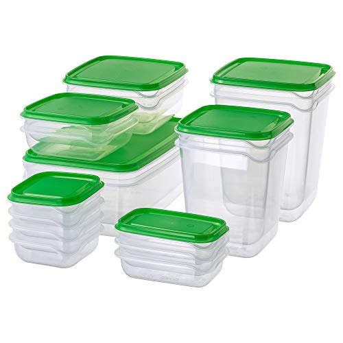 Ikea Pruta standaard duurzame Plastic containers voor levensmiddelen, 17 stuks, voor koelkast en vriezer, groen