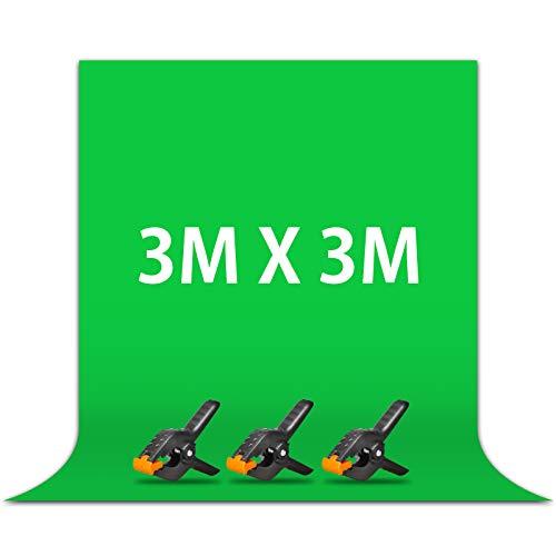 Fondos fotográfico, Croma fondo chroma key 3M*3M con 3 Clips, Pantalla...