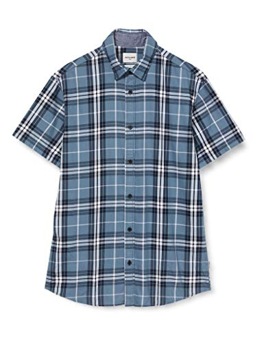JACK & JONES Herren JCOJUPITER Shirt SS Plain Hemd, China Blue, L