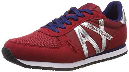 Armani Exchange Damen Microfiber lace up Sneaker, Rot (RED Shoes+Silver Mir 00619), 38 EU