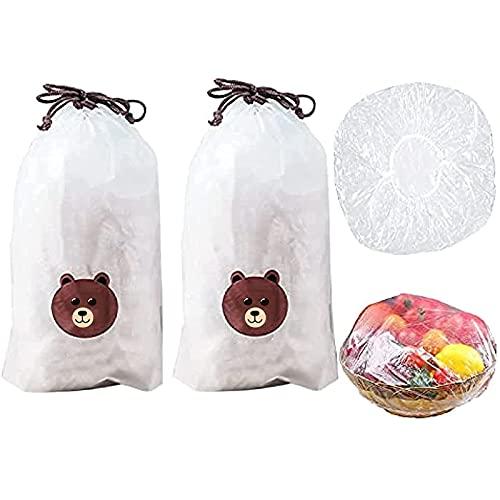 Bolsas de conservación fresca 100 piezas, bolsas de conservación fresca para poner en platos y tazones, bolsas de conservación fresca para sobras, tapas de tazón reutilizables elásticas