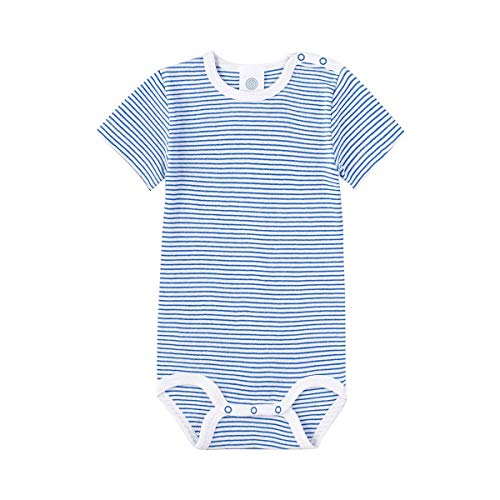 Sanetta Body rayé à manches courtes bébé, bleu/blanc