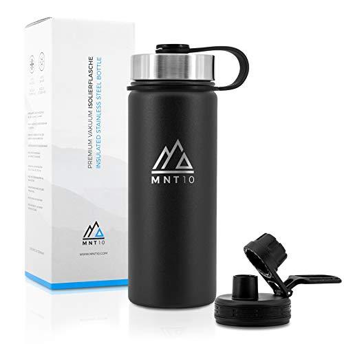 MNT10 Edelstahl Trinkflasche 500ml I Premium Isolierflasche für Wandern, Fitness, Fahrrad, Schule und Büro I Wasserflasche + Gratis Sportdeckel (Midnight Black | 500ml)