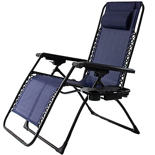 VERDELZ Sillón reclinable de Gran tamaño, Tela Transpirable, reposacabezas Desmontable, sillón Plegable Resistente para Piscina, Patio, Patio Sillones reclinables de Gravedad Cero
