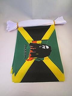 AZ FLAG Bob Marley 6 Meters Bunting Flag 20 Flags 9`` x 6`` - Rasta Jamaica String Flags 15 x 21 cm
