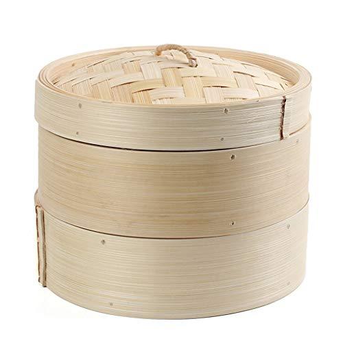 Ensemble cuiseur de pâtes à riz avec couvercle et panier à vapeur en bambou à 2 niveaux (Color : Natural)