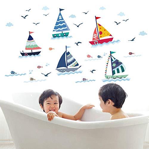 Adhesivos de pared, diseño de velero, gaviota, océano, multicolor