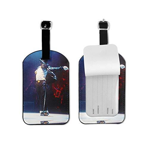 mi-Chael ja-ckson Luggage Tag for Luggage Baggage Travel Identifier Microfiber PU Leather 2.7*4.3inch