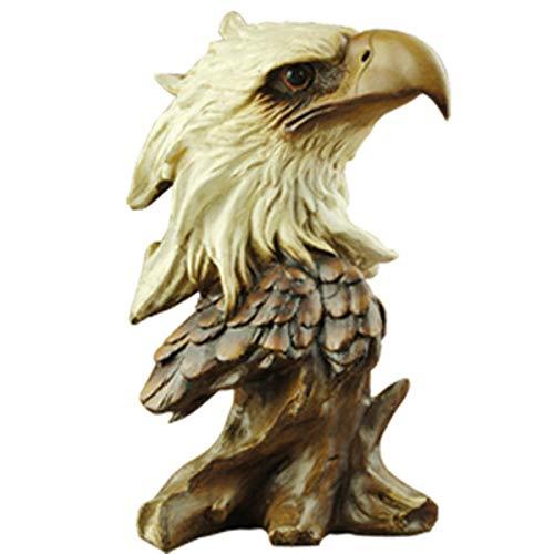 QIBAJIU Statue Antike Ornamente Skulptur Gartenstatuen Harz Adler Ornamente Adler Kopf Dekoration