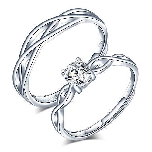 CPSLOVE Anillo de plata de ley 925 para pareja, anillos de bodas de diamantes de flores, tamaño ajustable, Anillo de compromiso