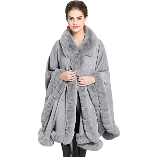 KAXIDY Cappotto da Donna Autunno Inverno Elegante Puro Colore Manica Lunga Collo di Pelliccia Caldo Mid-Long Cappotto di Lana Giacca Cardigan Mantello Cappotti (Grigio)