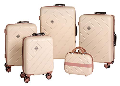 Enrico Coveri Moving Set Quattro Trolley + Beauty Case da Viaggio, Valigie Rigide ABS Beige e Rosa in Quattro Dimensioni