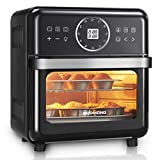 REDMOND Air Fryer, 14.8QT Air Fryer Oven 12-in-1, 1700W Electric Air Oven with LED Digital Touchscreen and Temperature Control, Toaster Oven with 7 Accessories, Black, AF008