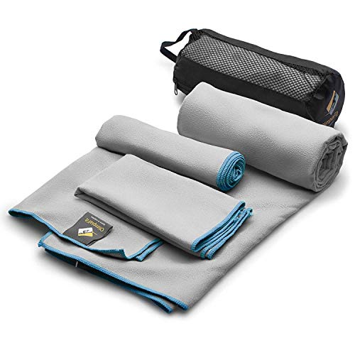 Set of 3 Microfiber Towels Fast Drying Gray Travel Backpacking Yoga Swimming...