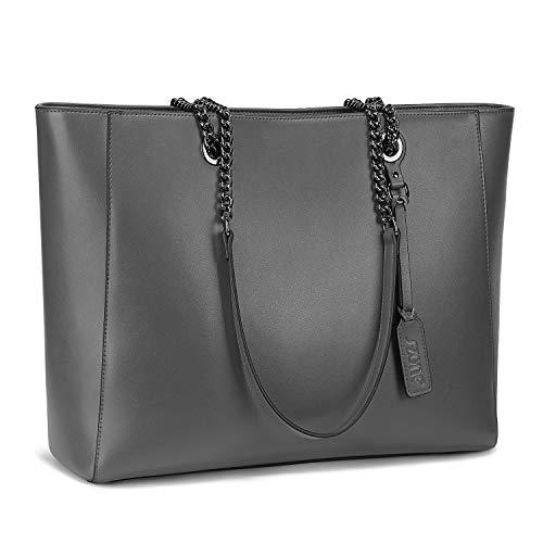 S-ZONE Damen 15,6 Inch Laptoptasche Echtes Leder Tote Bag Umhängetasche Handtasche Schultertasche Arbeit Einkaufen Reise