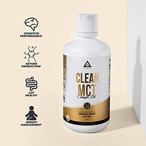 LevelUp - Clean MCT Oil Capsules: 100% Pure C8 Caprylic Acid Triglycerides   Best Ketogenic Supplement for Everyday Use   The Ultimate Keto Coffee Fat for Ketones (16oz)
