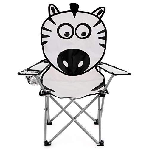 Nexos Kinder Campingstuhl Kinderstuhl Klappstuhl Gartenstuhl Strandstuhl Faltstuhl Sonnenstuhl mit Sicherung Getränkehalter Tragetasche lustiges Tiermotiv wählbar (Zebra)