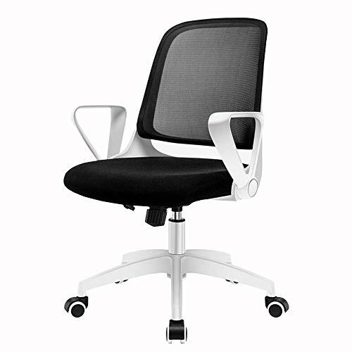 JIEER-C slaapkamer Home Office Desk Chair bureaustoel, eenvoudige armleuningen, verstelbaar, kanteling tot 120 °, bureaustoel, mesh, ademend, gewicht 150 kg, wit/zwart/blauw (kleur: wit) Wit.