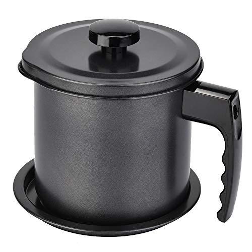 Nikou Olie Pot Vet - 1.3L Bakeliet Olie Opslag Keeper, Keuken Koken Olie Kan Pot Fles Dispenser Container met Strainer Huishoudelijke Tool (Zwart)