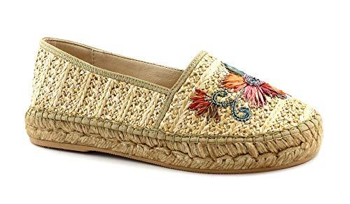Macarena Die Schuhe ELISA23 Natural beige Espadrilles Damen tragen eine Blume 39