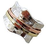 Energy Stone Brisa - Anillo de meditación con motivo martilleado - Con aros de latón y cobre giratorios a su alrededor - Plata de ley - (Modelo UK06)
