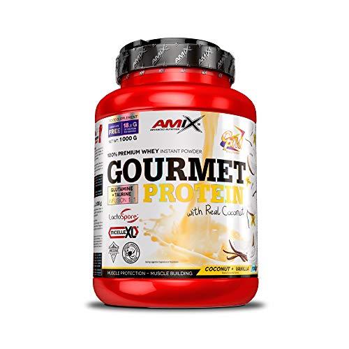 Amix - Gourmet Protein - Suplemento Alimenticio - Mejora del Rendimiento - Contiene Aminoácidos Bcaa - Glutamina en Polvo - Nutrición Deportiva - Sabor a Coco-Vainilla-Yogurt - Bote de 1 Kg