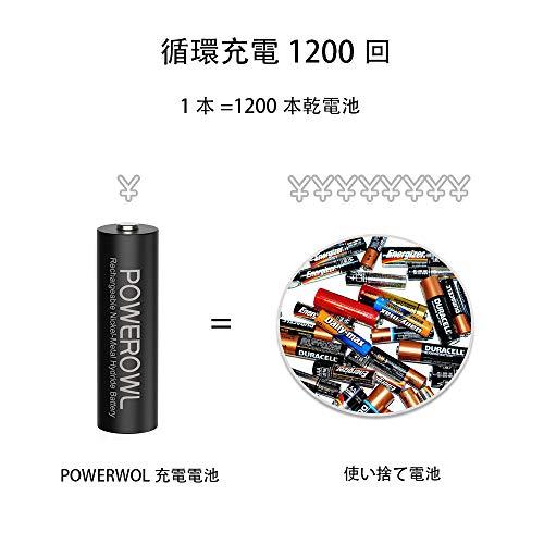 Powerowl単3形充電式ニッケル水素電池8個パック超大容量PSE安全認証自然放電抑制環境保護(2800mAh、约1200回循環使用可能)