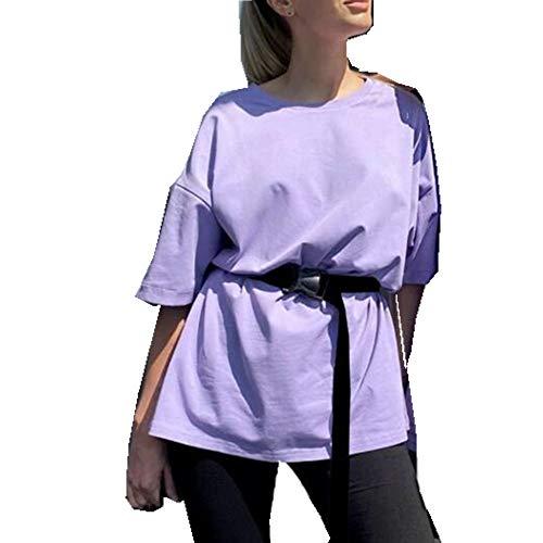 x8jdieu3 Sommer Zweiteiliger Anzug Mit GüRtel Einfarbig Home Loose Sports Fashion Freizeitanzug Damenhemd Shorts