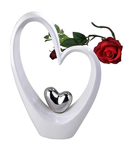 Moderne Skulptur in Form eines Herzens weiß/silber Höhe 25 cm