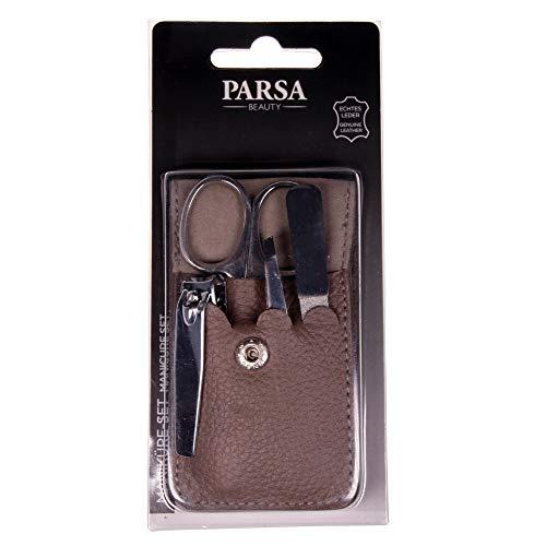 PARSA Beauty Maniküre-Set 4-teilig Etui aus echtem Leder in grau ideal für unterwegs