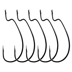 Mgotu Wide Gap Offset Fishing Hook Set- Bass Worm Hook Kit for Fishing,Tackle Accessories 1 1/0 2/0 3/0 4/0 5/0 WH01