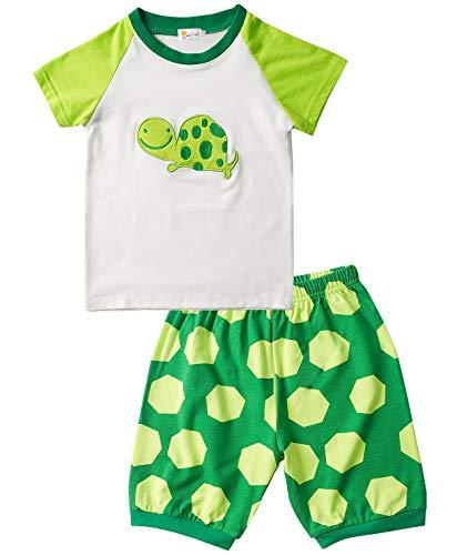 EULLA Jungen Schlafanzug Baumwolle Zweiteiliger Kurzarm Nachtwäsche Tier Schildkröte Pyjama, Grün-1, 100 (Herstellergröße: 3)
