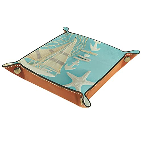 Bandeja de Cuero - Organizador - Concepto con objetos de sellado en la mesa de madera - Práctica Caja de Almacenamiento para Carteras,Relojes,llaves,Monedas,Teléfonos Celulares y Equipos de Of
