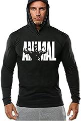 Hombre Bodybuilding Manga Larga Camisetas con Capucha de Tirantes Sweatshirt