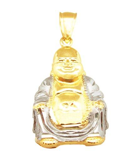AMZ Jewelry 10K Yellow Gold Buddha Pendant Laughing Buddha Charm