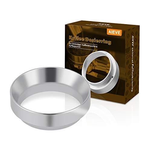 AIEVE 58mm Kaffee Dosierring universal Kaffeedosierring Espresso Dosiertrichter Ersatzteile Aluminium für Portafilter Siebträger Fülltrichter Brühschüssel Kaffeemaschine Kaffeepulver(Silber)
