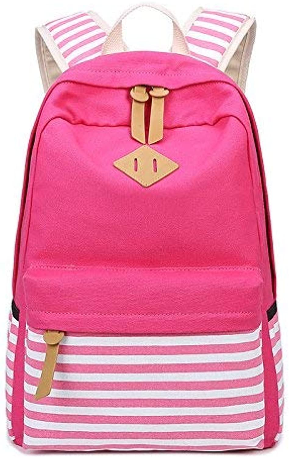 OIBHFO HOME Leng QL Personality Backpacks Fashion Backpack Canvas Striped Simple Backpack Middle School Student Bag