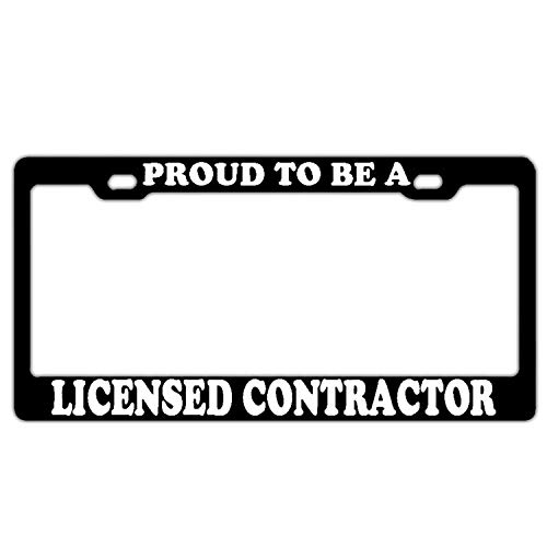W Tactical License Plate Frame - Front and Rear License Plate Protection Frame 6x12 inches. Proud to Be A Licensed Contractor Black