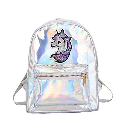 TENDYCOCO Mochila unicornio para niñas Mochila escolar con brillo láser Mochila escolar de viaje holográfica Mochila impermeable antirrobo - plata