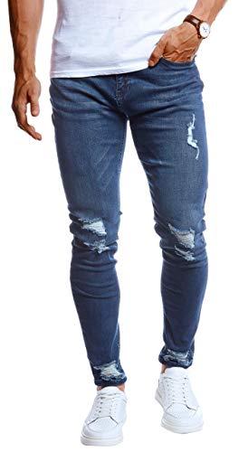 Leif Nelson Herren Jeans Hose Stretch Jeanshose Chino Cargo Hose Jogger Freizeithose Slim Fit LN9145 W33L30 Blau Grünstich