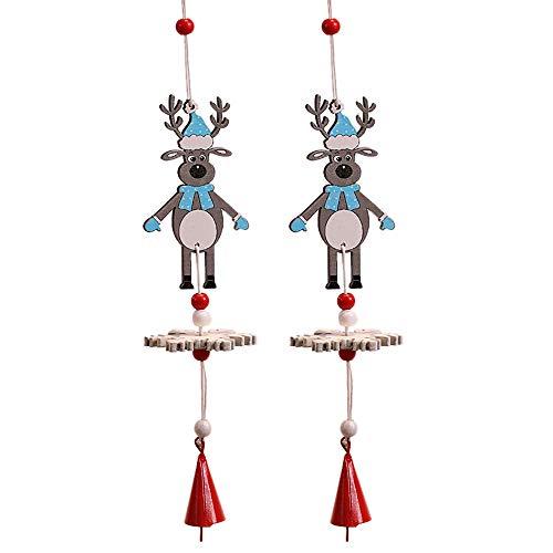 2 Stück bemalte hölzerne Glockenschnur Weihnachtsbaumschmuck Windspiel Elch Windspiel