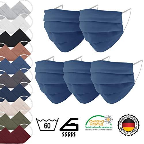 EllaTex 5er Pack Mund-Nasenschutz Masken/Atemschutz Maske Behelfsmaske Baumwolle WASCHBAR WIEDERVERWENDBAR in 10 Farben verfügbar, Farbe:Jeans - 6