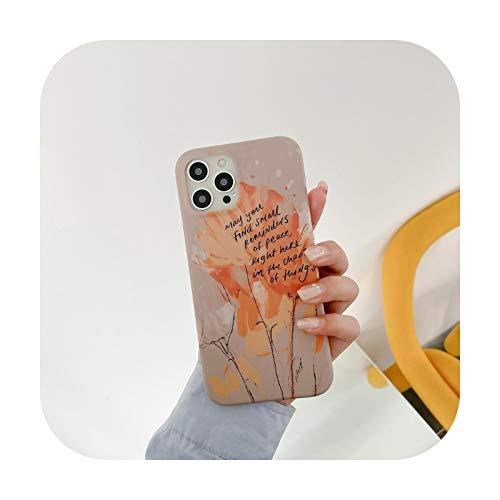 Arte pintado letras patrón teléfono caso para iPhone 11 12 Pro Max 7 8 Plus XS Max X XR SE 2020 12Mini lindo suave esmerilado cubierta trasera -DX-55-Para iPhone SE (2020)
