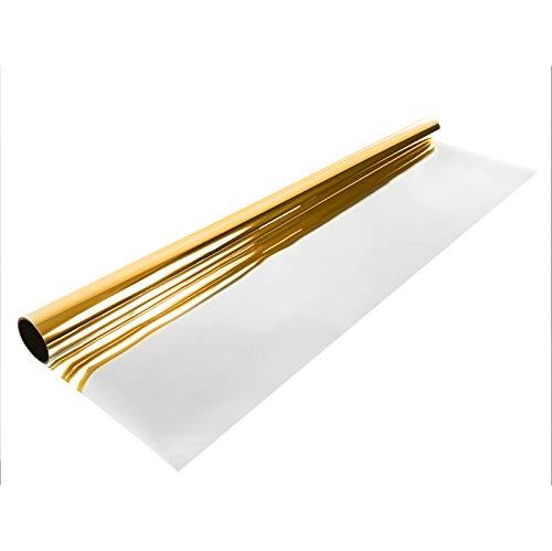 Askol Decomeister Spiegelfolie Selbstklebend Sonnenschutz Fensterfolie Sichtschutz Folie UV-Schutz Sichtschutz Spionfolie Innenmontage Montagezubehör im Set enthalten 75x300 cm Spiegel Gold